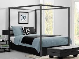 Bedroom Tile Bedroom Dark Grey Wood Canopy Bed White Matresses Green Blanket
