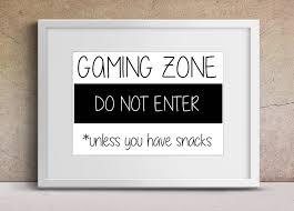 gamer art gaming zone do not enter bedroom print boys room art