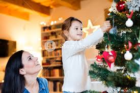 Mother Daughter Christmas Ornaments Beautiful Young Mother With Little Daughter At Home Decorating