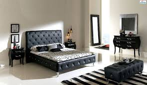 Made In Spain Leather Luxury Modern Furniture Set With Tufted - White tufted leather bedroom set