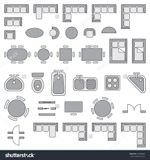 standard furniture symbols used in architecture plans icons set