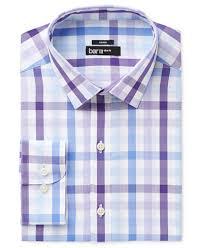 bar iii men u0027s slim fit stretch easy care purple bold multi gingham