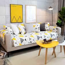 décoration canapé moderne jaune géométrie coton non slip décoration canapé couvre pour