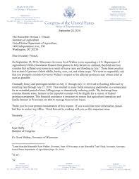 rep duffy letter to sec tom vilsack congressman sean duffy