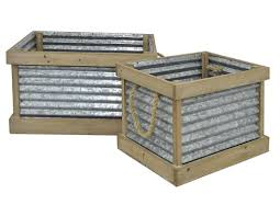 Metal Planter Box by Three Hands Co Galvanized 2 Piece Metal Planter Box Set Wayfair