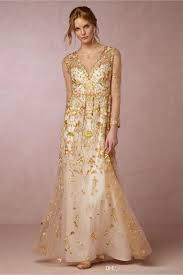 gold wedding gown discount 2017 gold wedding dresses bhldn with illusion