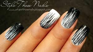 black and white waterfall nailart easy d i y nails youtube
