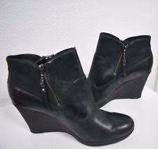 womens boots size 11 12 nwob ugg amal black leather wedge heel ankle s boots size 11