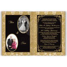 Marriage Anniversary Invitation Card Black Ivory And Gold Damask Scrolls Any Anniversary