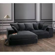 le monde du canapé canapé d angle 4 places en velours gris bruges maisons du monde