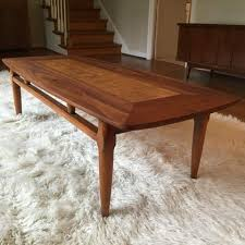 lane furniture coffee table mid century modern coffee table with burlwood inlay by lane