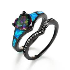 opal stone rings images Vancaro dark black blue fire opal ring sets with heart rainbow stone jpg