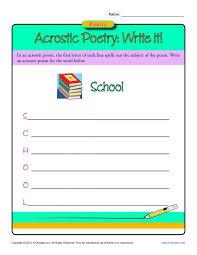 acrostic poetry write it poetry worksheets