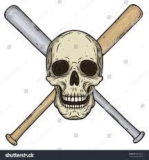 vector illustration human skull crossed baseball stock vector