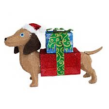 lighted dog christmas lawn ornament shop holiday living 1 94 ft freestanding dog sculpture with constant