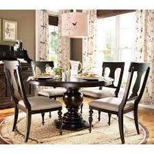 round dark wood pedestal dining table paula deen home 5 piece round pedestal dining table set tobacco