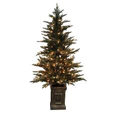 lowes artificial christmas trees with lights shop holiday living 5 5 ft pre lit serbian spruce artificial