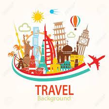 travel clipart images World travel landmarks silhouettes icons set royalty free jpg