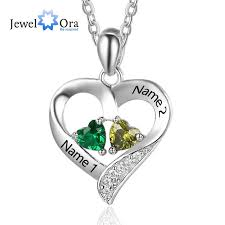 necklace birthstones personalized 925 sterling silver 2 birthstone necklace pendants