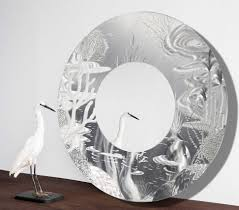 mirror 102 all natural silver abstract marine life circle wall