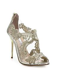 wedding shoes canada oscar de la renta ambria embroidered metallic peep toe sandals