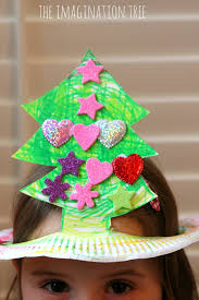 paper plate christmas tree hat craft