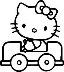 kitty drive car coloring wecoloringpage