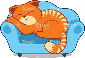 Clipart Armchair Orange Striped Lazy Cat Sleeping On Sofa Blue Armchair Stock