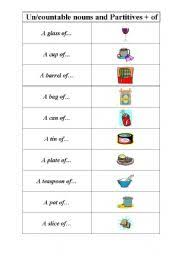 uncountable and countable nouns and partitives to go with them