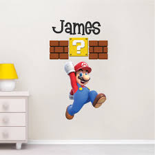 mario personalized name decal super mario wall decal sticker