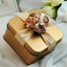 wedding favor boxes wholesale new metal candy boxes square with flowers gold purple tiffane