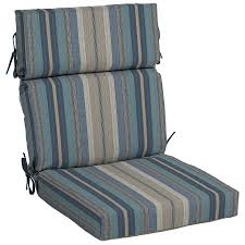 High Back Patio Chair Cushions Shop Allen Roth Stripe High Back Patio Chair Cushion For High