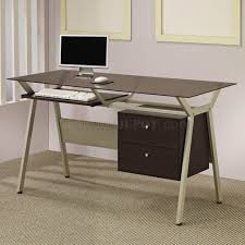 Home Office Glass Desks Metal Base Smoked Glass Modern Home Office Desk W Two Drawers