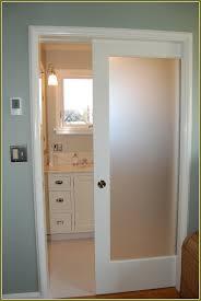 Pocket Closet Door Interior Pocket Door With Translucent Glass Insert Bathrooms