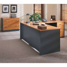 bush series c l shaped desk with mobile files hayneedle