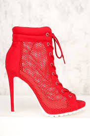 red perforated front lace up peep toe high heel booties faux