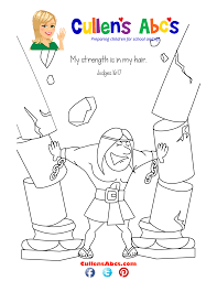 bible memory verse coloring page samson online preschool and