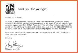 thank you for your donation letter bio example