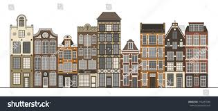 Narrow Houses Amsterdam Narrow Houses Standing Row Isolated Stock Vector