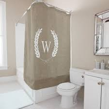 Shower Curtains Rustic Farmhouse Rustic Faux Burlap Laurels Monogram Shower Curtain