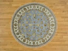 Round Persian Rug 6 U0027 X 6 U0027 Hand Knotted Sky Blue Round Rajasthan Wool And Silk