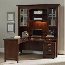 Hooker Furniture Latitude Walnut LShaped Desk and Hutch Set with