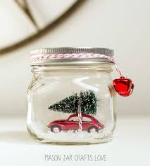 car in jar snow globe mason jar crafts love