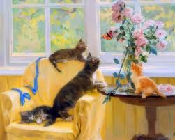 cats and butterfly four seasons flowers animals
