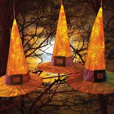 hang these lighted witches hats from your trees to greet your