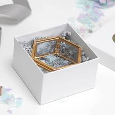 personalised jewelry box personalised mini glass hexagon jewellery box by allen
