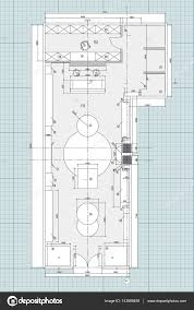 stock floor plans standard office furniture symbols on floor plans u2014 stock vector