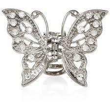 butterfly hair clip silver butterfly bulldog hair clip polyvore
