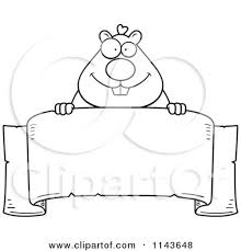 banner coloring pages cartoon clipart of a black and white hamster over a banner