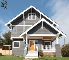 gray paint white trim exterior craftsman with grey panel front doors